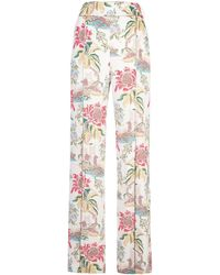 Peter Pilotto Pantalones anchos con motivo floral - Blanco