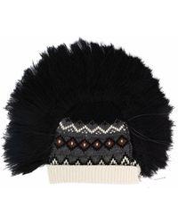Junya Watanabe Faux Fur-trimmed Knitted Beanie - Black