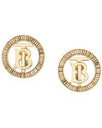 Burberry Crystal-detail Monogram Motif Earrings - Metallic