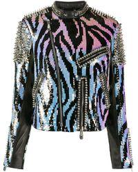 Philipp Plein Zebra Leather Biker Jacket - Black