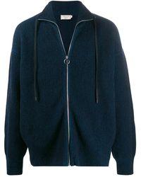 Maison Kitsuné Loose-fit Zip-up Cardigan - Blue