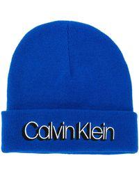 Calvin Klein Mütze mit Logo-Print - Blau