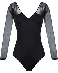 Brigitte Bardot - V-neck Tulle Panel Body - Lyst