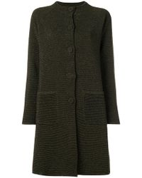 Moschino - Lurex Ribbed Band Collar Coat - Lyst