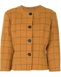 Dior Check Print Fitted Jacket - Brown