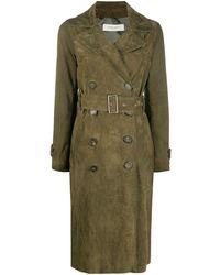 Golden Goose Deluxe Brand Двубортное Пальто С Поясом - Зеленый