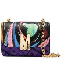 Moschino Multicoloured Swirl Print Leather Shoulder Bag - Purple
