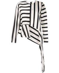 SemSem Striped Asymmetric Blouse - White