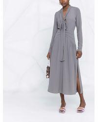 N°21 Платье С V-образным Вырезом И Завязками - Серый