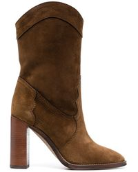 Saint Laurent Point-toe Calf-length Boots - Brown