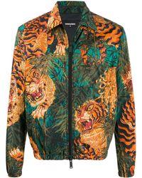 DSquared² Jacke mit Tiger-Print - Blau