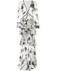 Marchesa notte - Кружевное Платье С Цветочной Вышивкой - Lyst