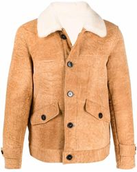 Officine Generale Buttoned-up Leather Jacket - Brown