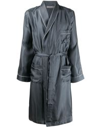 Canali Trimmed Wrap-style Robe - Grey