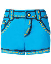 Moschino Cotton Stretch Shorts With Pixel Print - Blue
