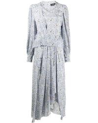 Isabel Marant ペイズリー シルクドレス - ブルー
