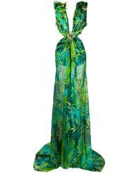 Versace Jungle Print Long Dress - Green