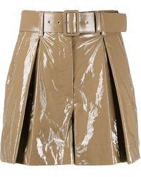 MSGM - Vinyl-effect Belted Shorts - Lyst