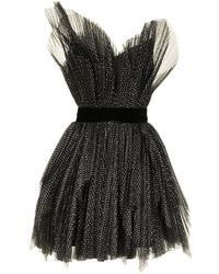 Ralph & Russo Pleated-tulle Strapless Minidress - Black