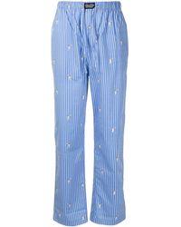 Polo Ralph Lauren Tennis Bear Embroidered Pinstriped Pyjama Bottoms - Blue