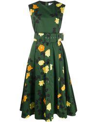 MSGM - Платье С Цветочным Принтом И Поясом - Lyst