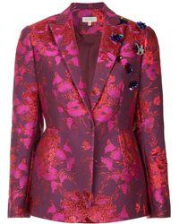 Delpozo Floral Embroidered Blazer - Pink
