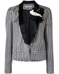 Lanvin フローラル&チェーン装飾 ブレザー - ブラック