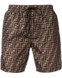 Fendi - Monogram Print Shorts - Lyst