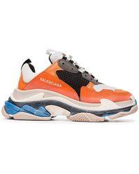 Balenciaga - Orange And Multicoloured Triple S Trainers - Lyst
