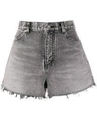 Saint Laurent High Waisted Denim Shorts - Grey