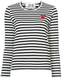 COMME DES GARÇONS PLAY Cotton Red Emblem Stripe Tee - White