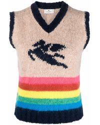 Etro - Intarsia-knit Sleeveless Jumper - Lyst