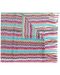 Missoni Chevron-pattern Fringed Scarf - Pink