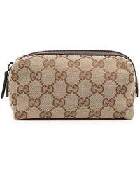 Gucci GG Zip-top Make-up Bag - Brown