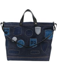 DSquared² Embroidered Badge Denim Tote - Blue