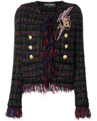 Balmain - Embellished Fringed Tweed Jacket - Lyst