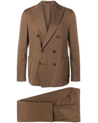 Lardini - Double Breasted Suit Jacket - Lyst