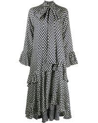 ODEEH ジオメトリックプリント ドレス - ブラック