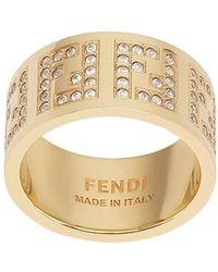 Fendi Декорированное Кольцо С Монограммой - Металлик