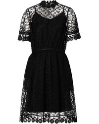 Burberry Dress In Sheer Floral-embroidered Tulle - Black