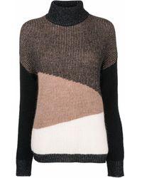 Liu Jo Colour-block Roll-neck Sweater - Brown