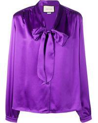 Gucci Блузка С Бантом - Пурпурный