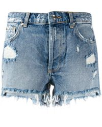 Liu Jo Distressed Ripped Detail Shorts - Blue