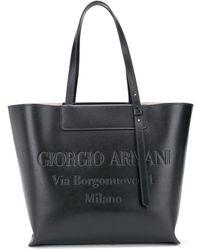 Giorgio Armani Draagtas Met Relief Logo - Zwart
