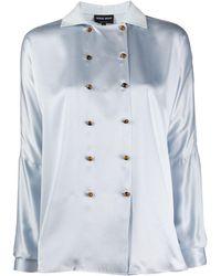 Giorgio Armani Double-breasted Silk Blouse - Blue