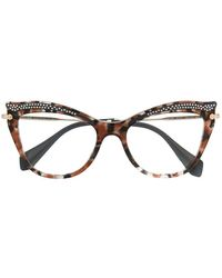 Miu Miu Kristallverzierte Brille - Grau