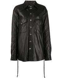 Faith Connexion Leather Shirt Jacket - Black