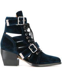 Chloé Rylee レザー ブーツ - ブルー