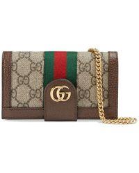 Gucci Funda para iPhone 7/8 Ophidia con GG y cadena - Marrón