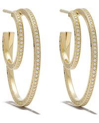 Georg Jensen - 18kt Yellow Gold Halo Brilliant Cut Diamond Earhoops - Lyst